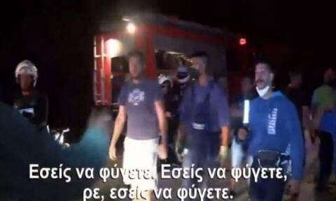 Ένταση μεταξύ πολιτών και αστυνομικών στο πύρινο μέτωπο στα Βίλια (vid)